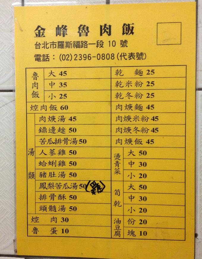 初めて行った頃の壁に貼ってあった注文票