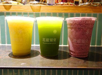 左から南洋鳳橙嬌汁、石蓮花傲嬌汁、米開朗基羅的謬思