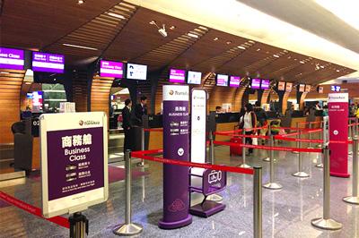 桃園空港のトランスアジア航空チェックインカウンター
