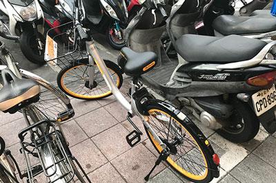 バイクと自転車の中にオーバイクを発見